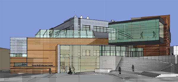 Front Elevation Of College Building : Tracy hall science center dream capital campaign